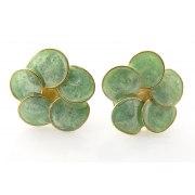 Smadar Edri Green and Gold Enamel Earrings, Fashion Jewelry
