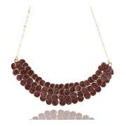 Smadar Edri Red Wine Enamel Handmade Necklace, Israeli Fashion Jewelry