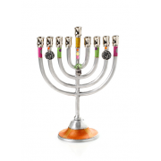 Small Colorful Hanukkah Menorah with Dreidel Charm