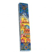 Small Painted Wood Mezuzah Case Domes of Jerusalem