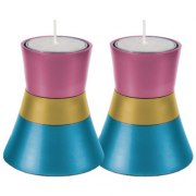 Small Pink Blue Shabbat Candlesticks by Yair Emanuel