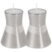 Small Silver Aluminium Shabbat Candlesticks by Yair Emanuel