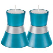 Small Turquoise Shabbat Candlesticks by Yair Emanuel