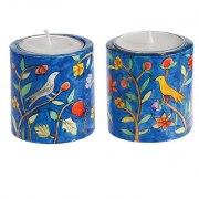 Small Yair Emanuel Round Candlesticks Oriental Flowers