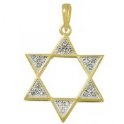 Sparkling Gold and Diamonds Star of David Necklace