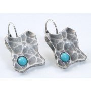 Square Silver Earrings with Turquoise Stones, Israeli Jewelry