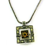 Square Sterling Silver Pendant with 14k Gold Star of David