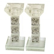 Squares Crystal Candlesticks with 3 Pomegranate Branch Plates