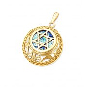 Star of David 14K Filigree Gold and Roman Glass