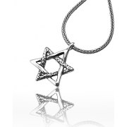 Star of David Necklace Two Textures Design