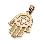 14K Gold Engraved Hamsa, Star of David Pendant