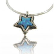 Star Necklace Sterling Silver and Opal