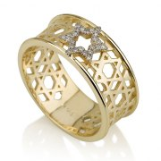 14K Gold and Diamonds Star of David Ring