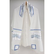 State of Israel Flag on White Viskosa Tallit