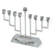 Wide Based Step Sterling Silver Hanukkah Menorah Appliqued Olive Leaves