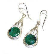 Sterling Silver and Eilat Stone Wave Teardrop Earrings