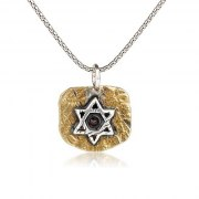 Sterling Silver and Garnet on Brass, Star of David Necklace