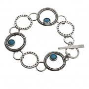 Sterling Silver and Opal Circles Bracelet