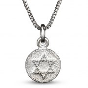Sterling Silver Coin Shaped Pendant with a Star of David