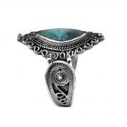 Sterling Silver Eilat Stone Large Eye Shaped Filigree Ring