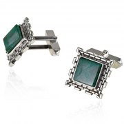 Sterling Silver Eilat Stone Western Wall Square Framed Cufflinks