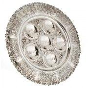 Hadad Sterling Silver Seder Plate - Floral Scrolls Border