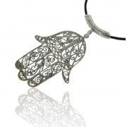 Sterling Silver Hamsa Pendant Filigree Style