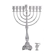 Sterling Silver Hanukkah Menorah, Rounded arms and Oil Chalice - Hadad
