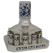 Sterling Silver Kiddush Cup Fountain Cut Out Flowers 12 Cups Blue Insert