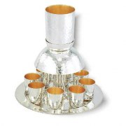 Sterling Silver Kiddush Cup Fountain with Hammered Texture 8 Cups