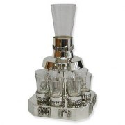 Jerusalem Panorama Sterling Silver Kiddush Fountain with 8 Jerusalem Gates and G
