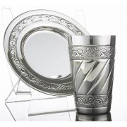 Kiddush Cup & Saucer Chatan Set - Leafy Vines Borders - Sterling Silver