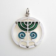 Sterling Silver Menorah Pendant - Circle with Swirls, Idit Jewelry