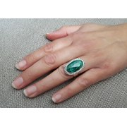 Sterling Silver Oval Frame Ring with Eilat Stone