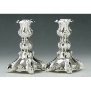 Sterling Silver Shabbat Candlesticks - Flower Decorated, Swirl Foot Square Base