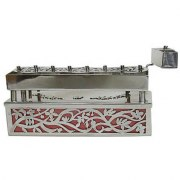 Sterling Silver Traveling Menorah and Case with Flower Cutouts Over Red