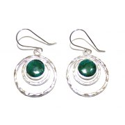 Sterling Silver Trio Circular Rings and Eilat Stone Earrings
