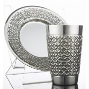 Sterling Silver Wedding Kiddush Cup & Saucer Set - Full Lattice Design
