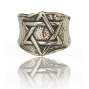 Sterling Silver Wide Band Star of David Ring