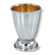 Sterling Silver Wide Bottom Pearl Style Ornamente, Kiddush Cup