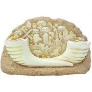 Stonelike Shabbat Candlesticks with Jerusalem and Shofars