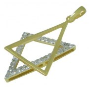 Stylish Gold Star of David Necklace with Diamonds