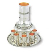 Stylish Sterling Silver Kiddush Fountain with 8 Cups with Pearls Ornaments