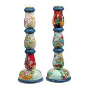Tall Candlesticks Yair Emanuel Painted Wood Jewish History