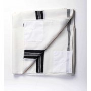 Tallit Katan Wool with Black Stripes V Neck Tzitzit