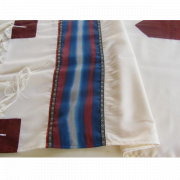 Tallit Prayer Shawl White with Blue and Bordeaux Stripes