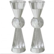 Tapered Crystal Shabbat Candlesticks with Ball