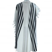 Tashbetz non Slip Wool with Black Stripes, Tallit Prayer Shawl