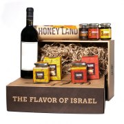 Taste of Israel Gift Box with Honey Land Box Peanut Tahini Skhug