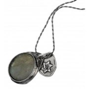 Teardrop Roman Glass and Silver, Star of David Necklace